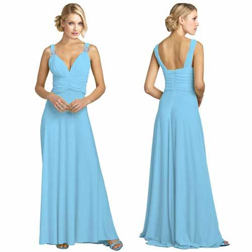 light blue v-neck bridesmaid dress with straps