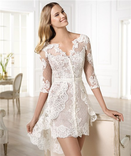 luxurious short lace wedding dress with 3/4 sleeves