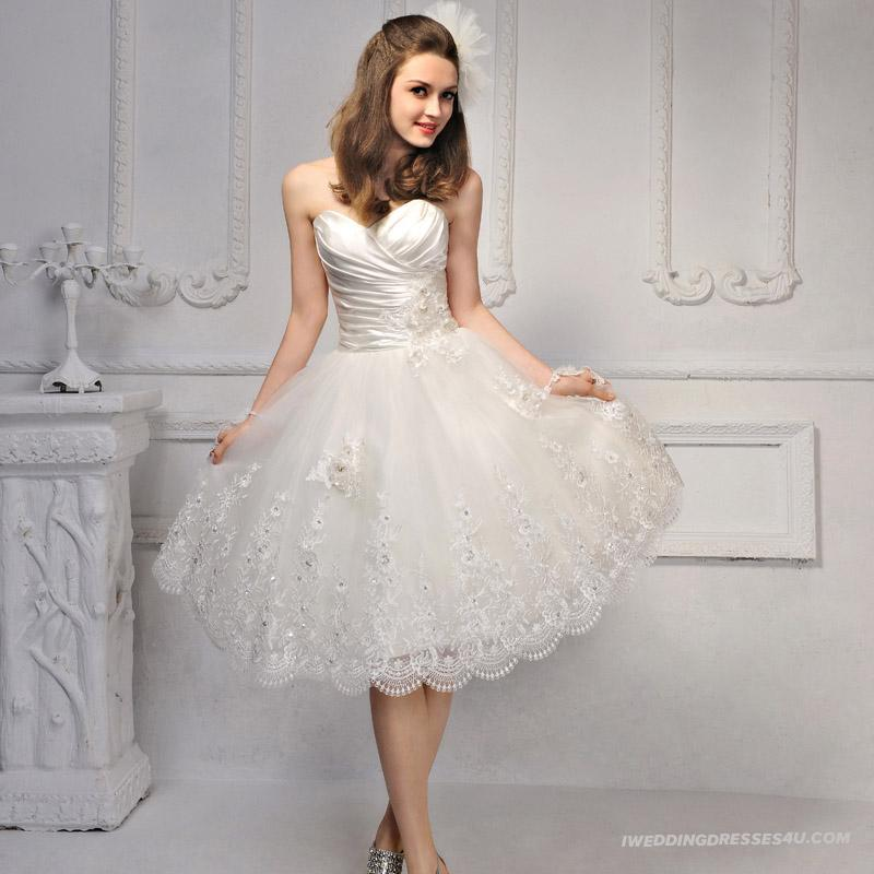 luxurious short lace wedding dresses  Cherry Marry