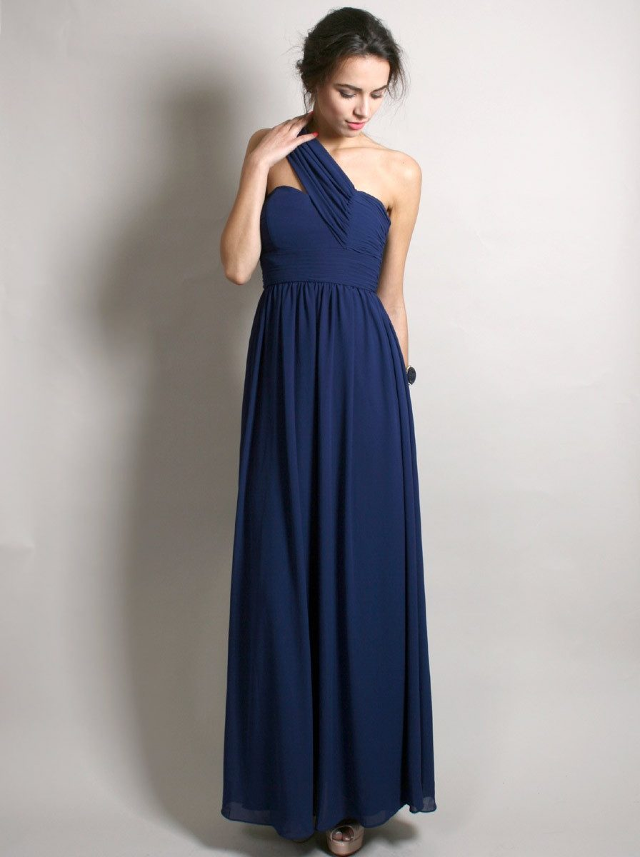 One shoulder chiffon navy blue bridesmaid dresscherry marry related ombrellifo Image collections