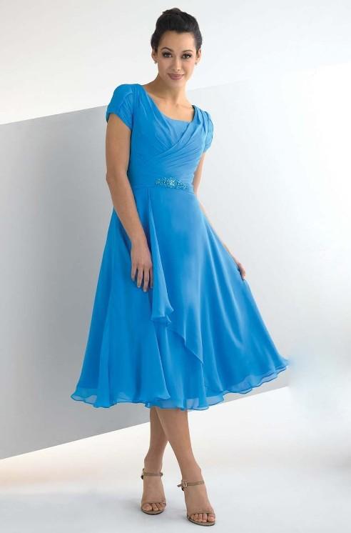 blue bridesmaid dress with sleeves