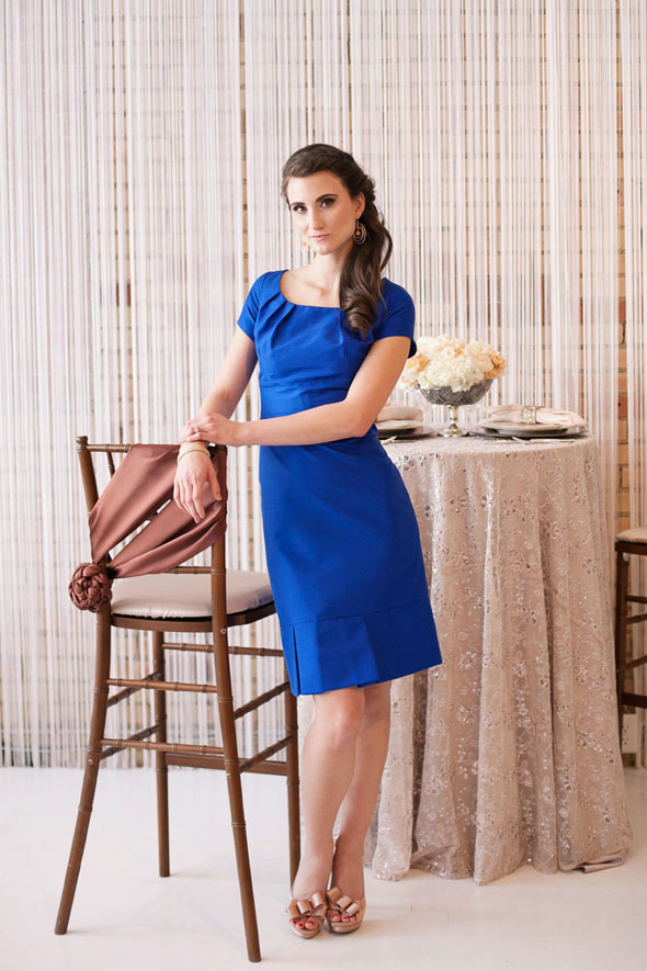 modest blue bridesmaid dress with short sleeves