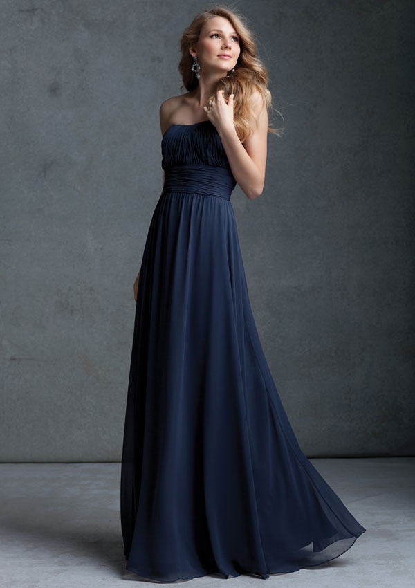 navy blue chiffon strapless bridesmaid dress