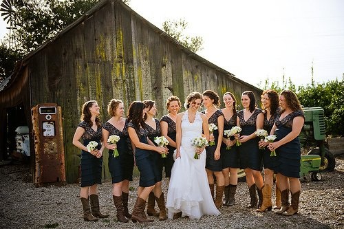 navy blue ruffled bridesmaid dresses with cowboy boots