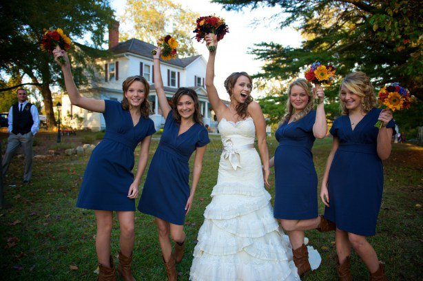 navy blue short sleeves bridesmaid dresses with cowboy boots