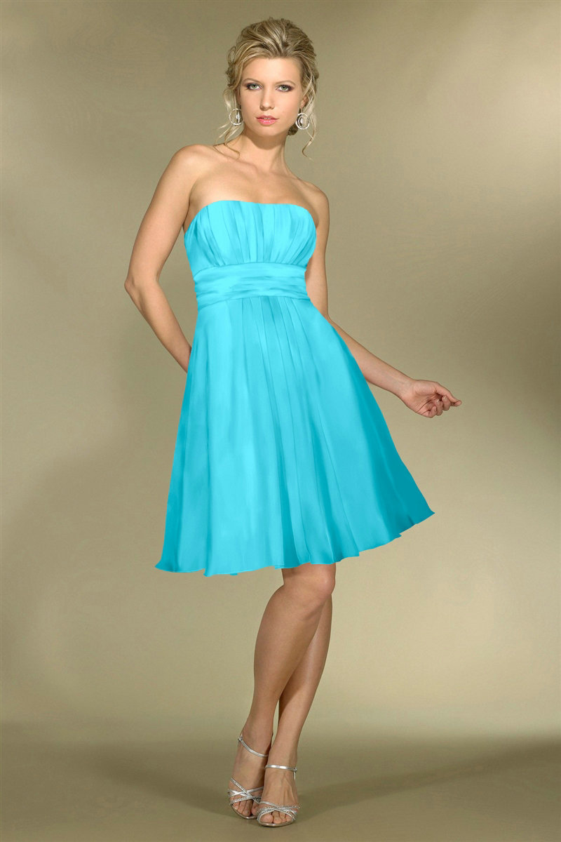 Strapless Blue Bridesmaid Dresses
