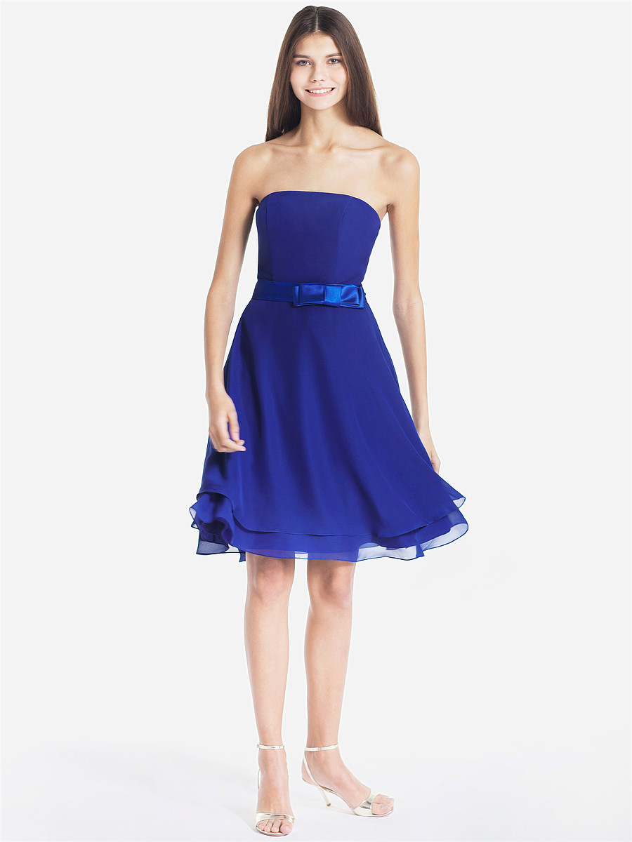strapless blue chiffon bridesmaid dress with bow belt