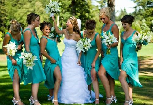tiffany blue bridesmaid dresses with tea length