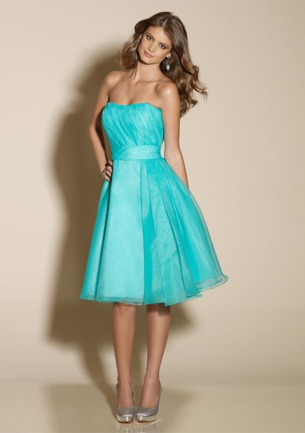 tiffany strapless blue lace bridesmaid dress with knee lengthCherry ...