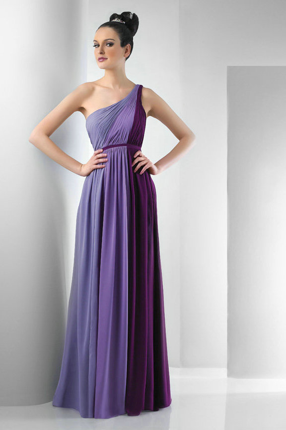 Gorgeous One Shoulder Purple Bridesmaid Dresses | Cherry Marry