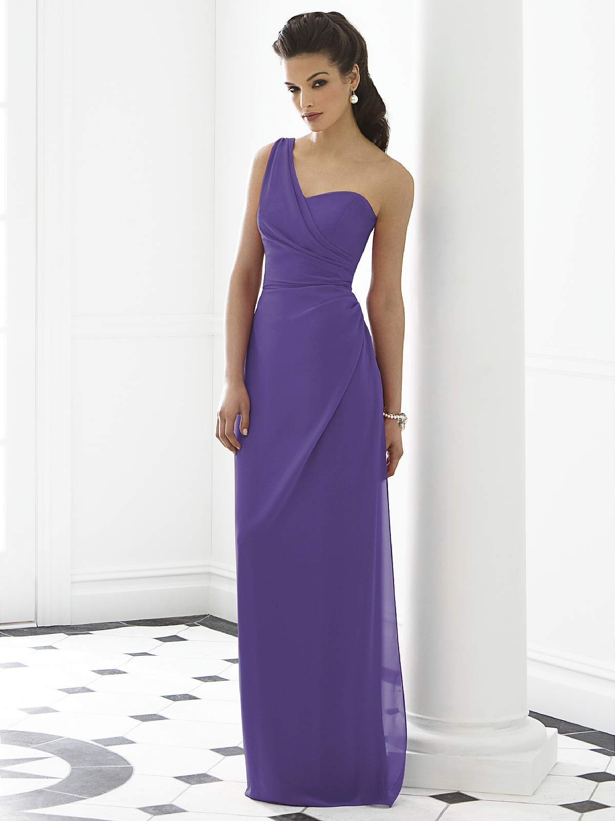 Gorgeous one shoulder purple bridesmaid dresses cherry marry purple one shoulder chiffon bridesmaid dress ombrellifo Images