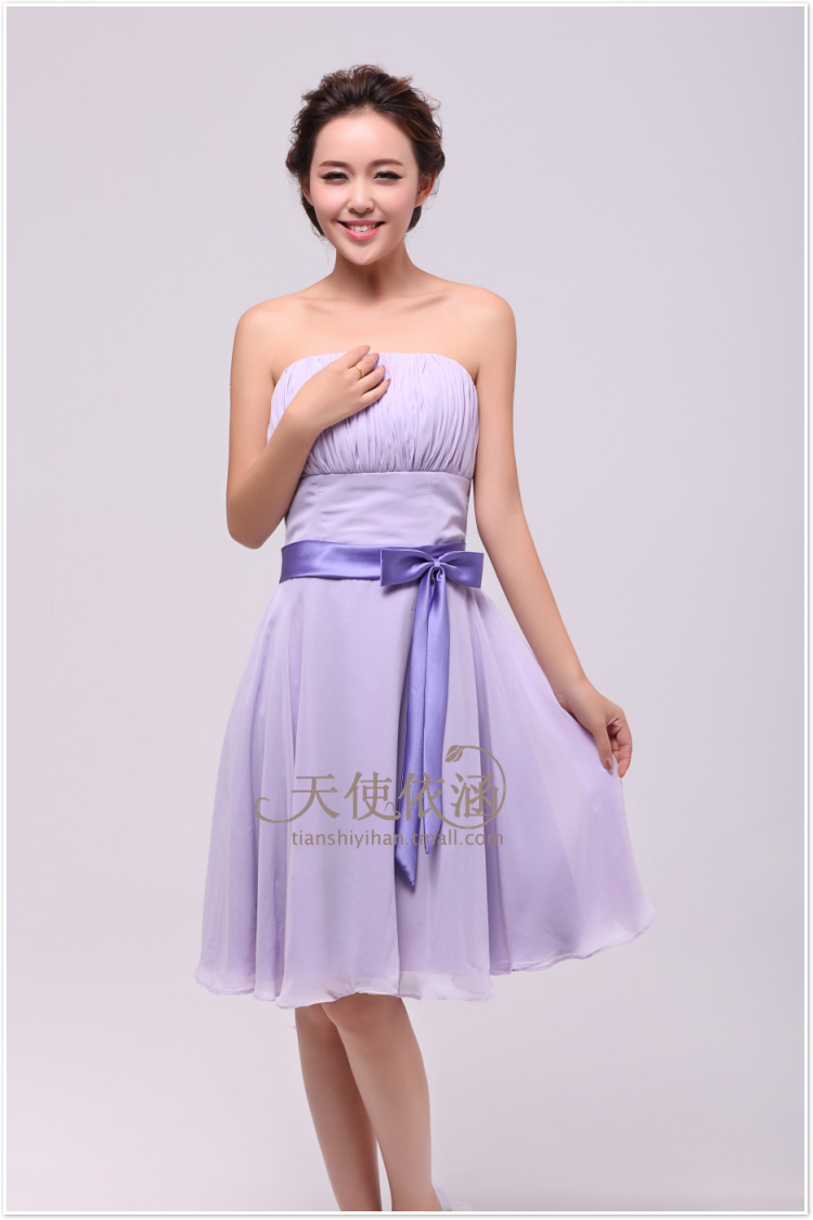 short light purple bridesmaid dress with sashCherry Marry | Cherry Marry
