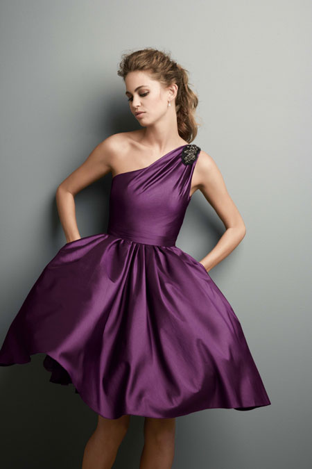 Short One Shoulder Purple Bridesmaid Dresscherry Marry