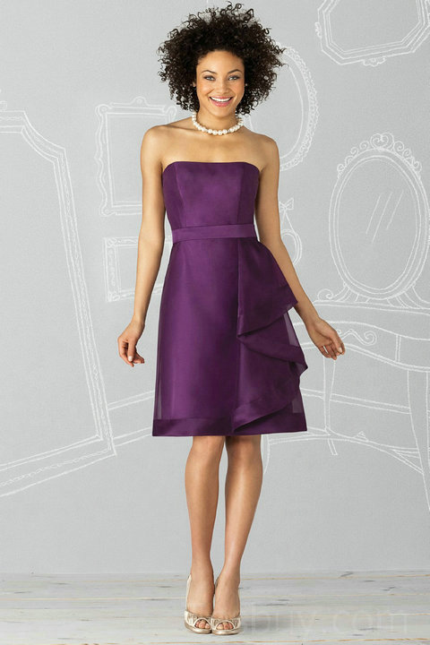 short purple strapless bridesmaid dress