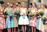 vintage bridesmaid dresses with floral accent