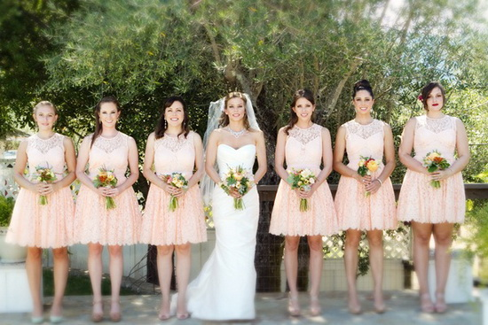 vintage lace bridesmaid dresses with short length
