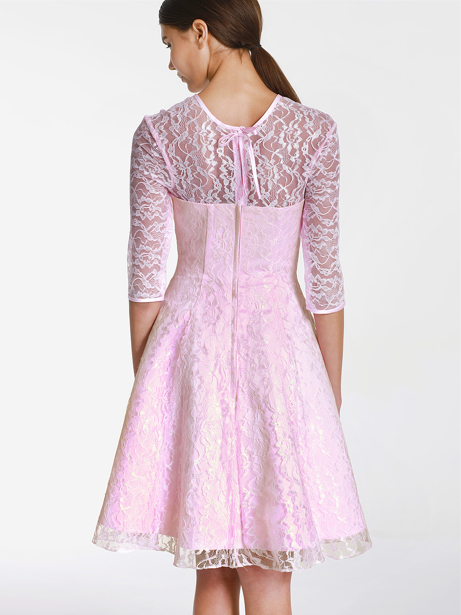 pink vintage lace bridesmaid dress with sleeves