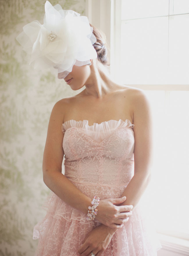 pink vintage strapless lace bridesmaid dress