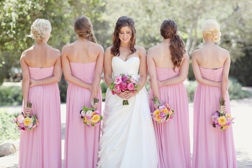 spring pink strapless bridesmaid dresses