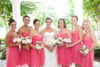 spring pink sweetheart bridesmaid dresses with knee length