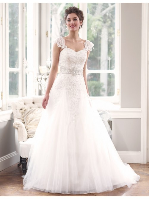 A Line Lace White Wedding Dress With Removable Cap Sleeves ...