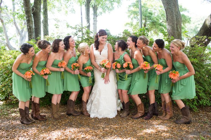 country green spring bridesmaid dresses with knee length