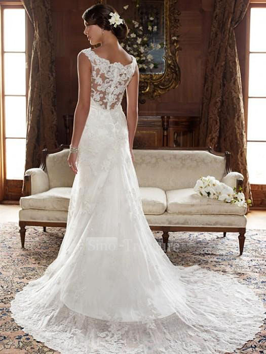 lace accented sleeveless wedding dress