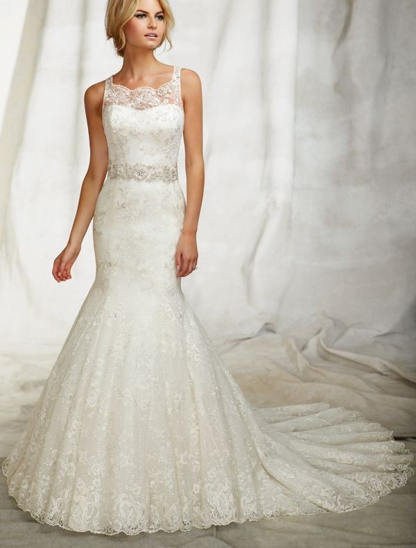 lace accented wedding dress with jewel neckline