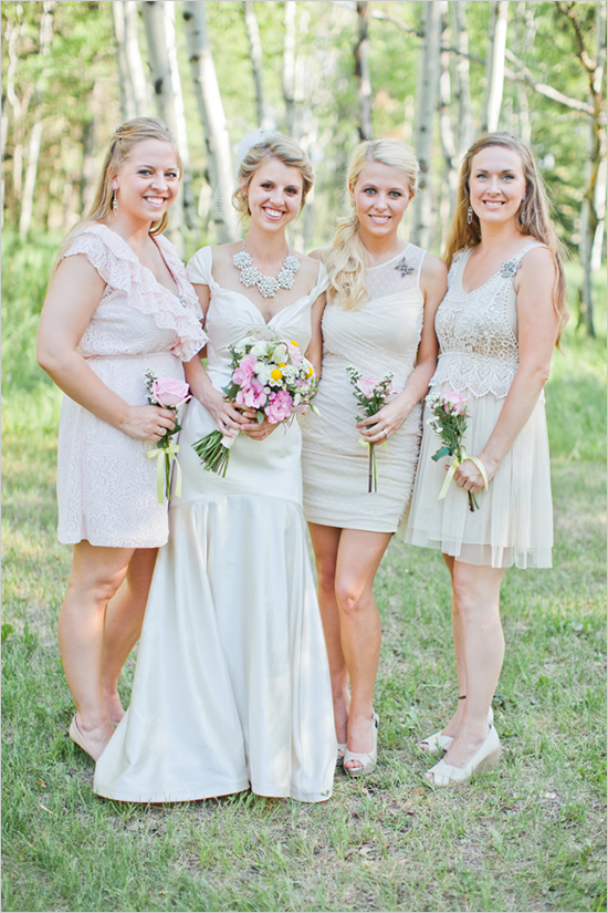 light colored country spring bridesmaid dresses
