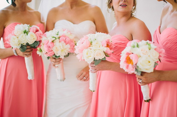 long coral pink spring bridesmaid dresses