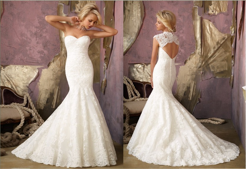 mermaid lace wedding dress with open back