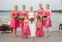 spring pink bridesmaid dress with green sash