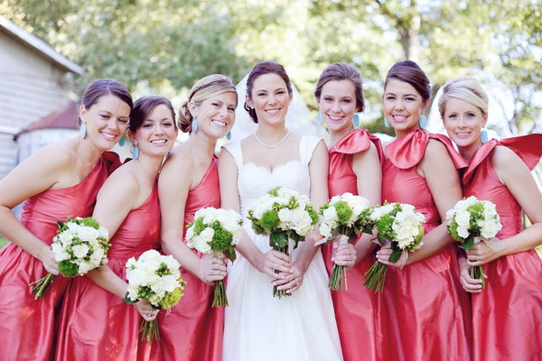 spring pink one shoulder bridesmaid dresses with big bow