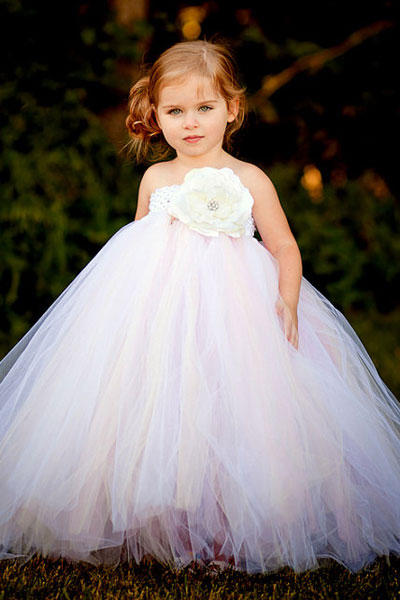 flower girl dress with big flower on front