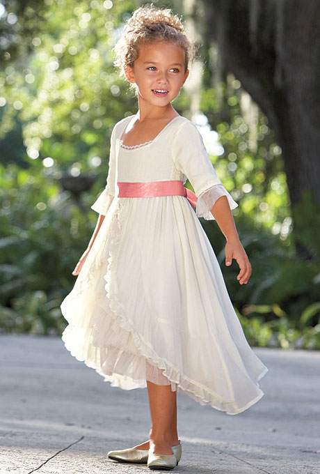 flower girl dress with pink ribbon