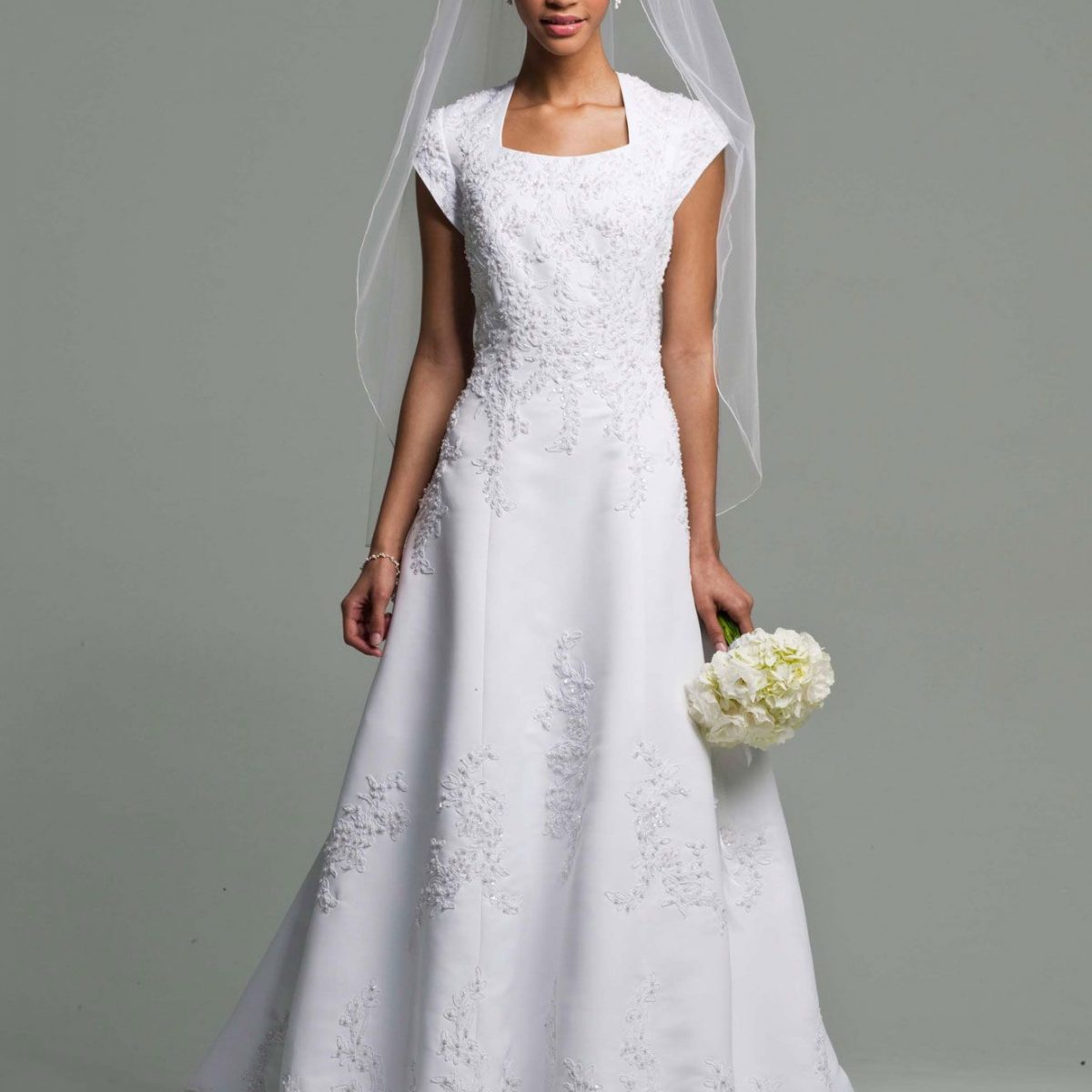 Lace wedding dress under 100 dollars with long veilcherry for Long wedding dresses under 100