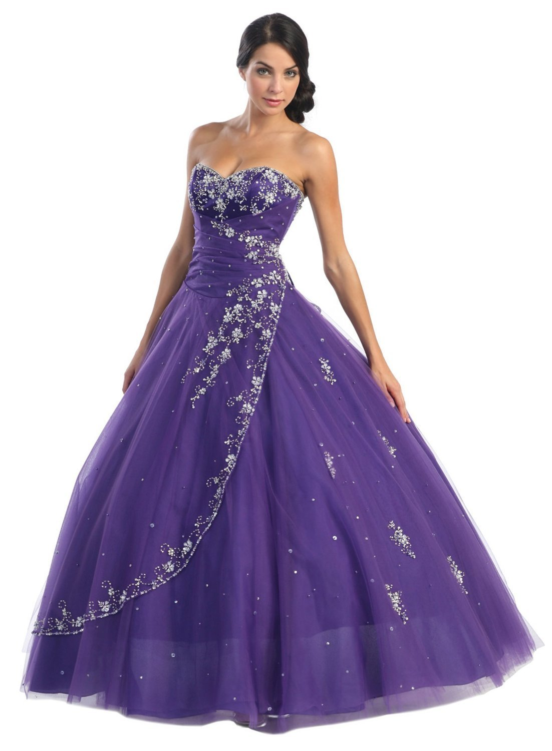Purple Strapless Wedding Dress
