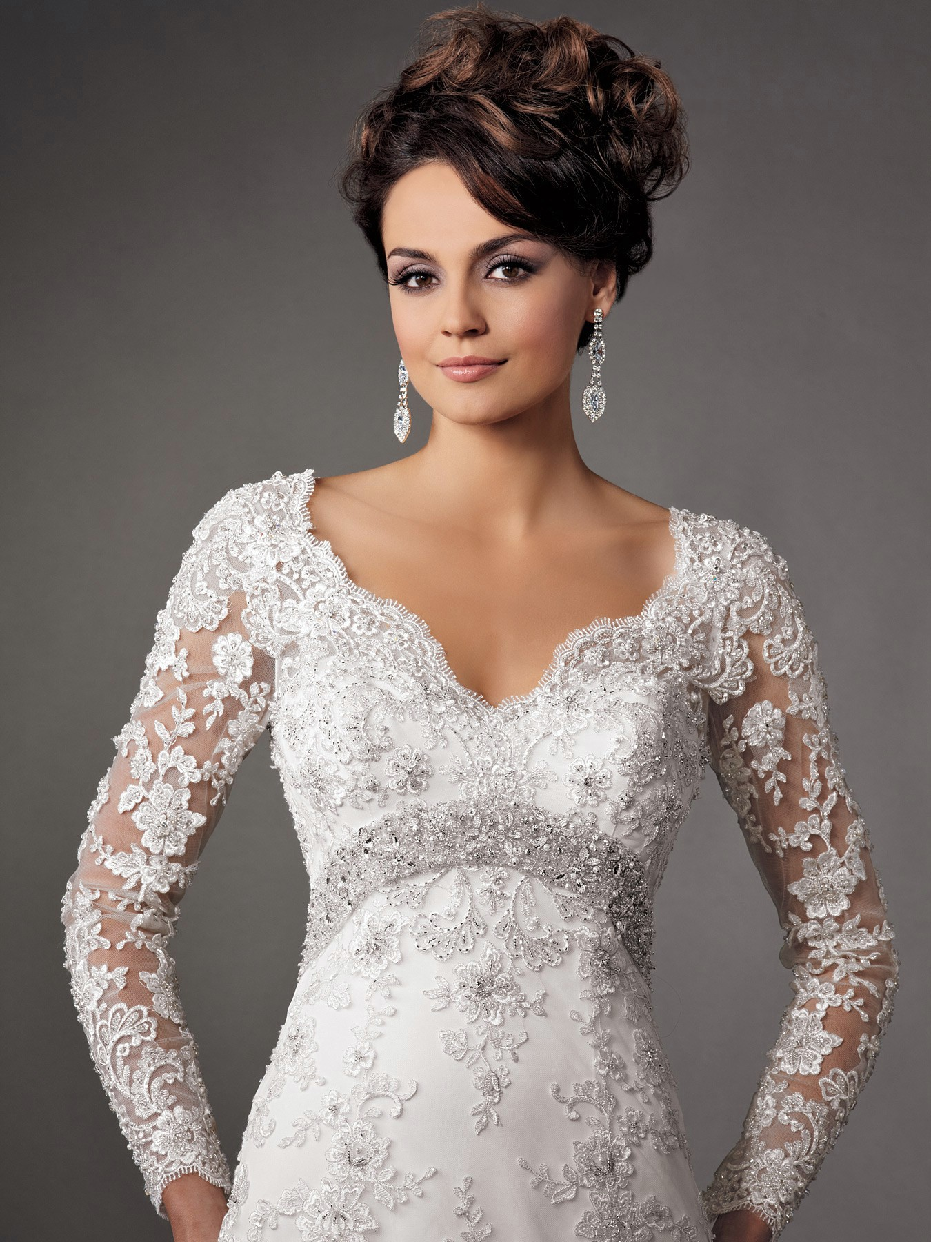 wedding dress with long lace sleeves and v-neck