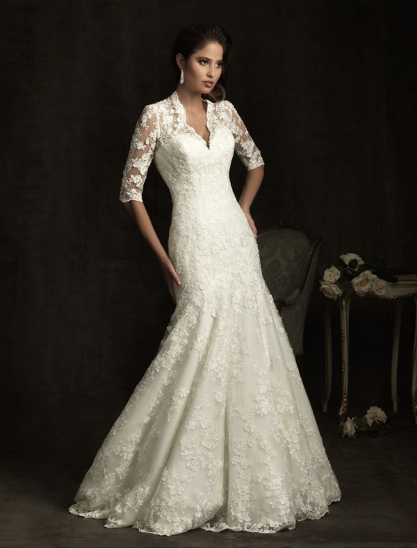 charming vintage lace wedding dress with half sleeves