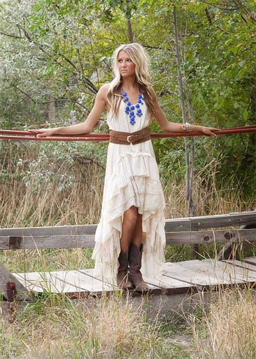 Simple Country Wedding Dress With Cowboy Bootscherry Marry