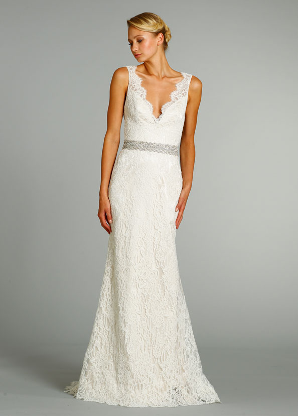 Simple Lace Wedding Dress With Deep V NecklineCherry Marry Cherry Marry