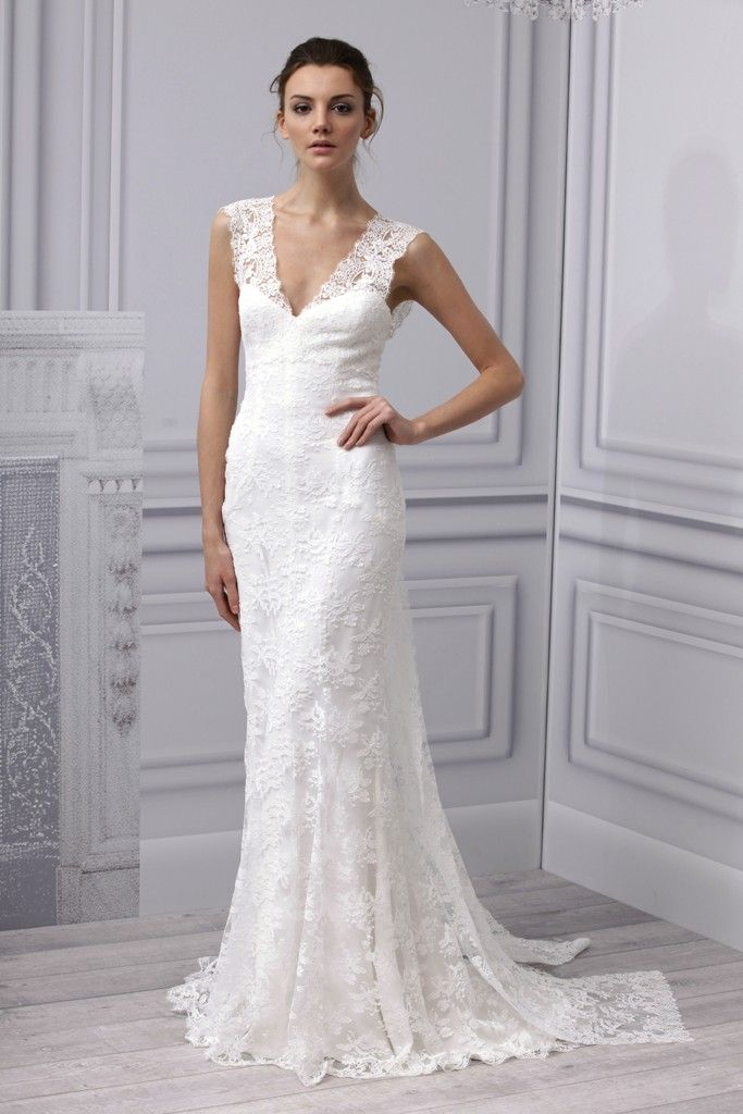 simple lace wedding dress with v-neck