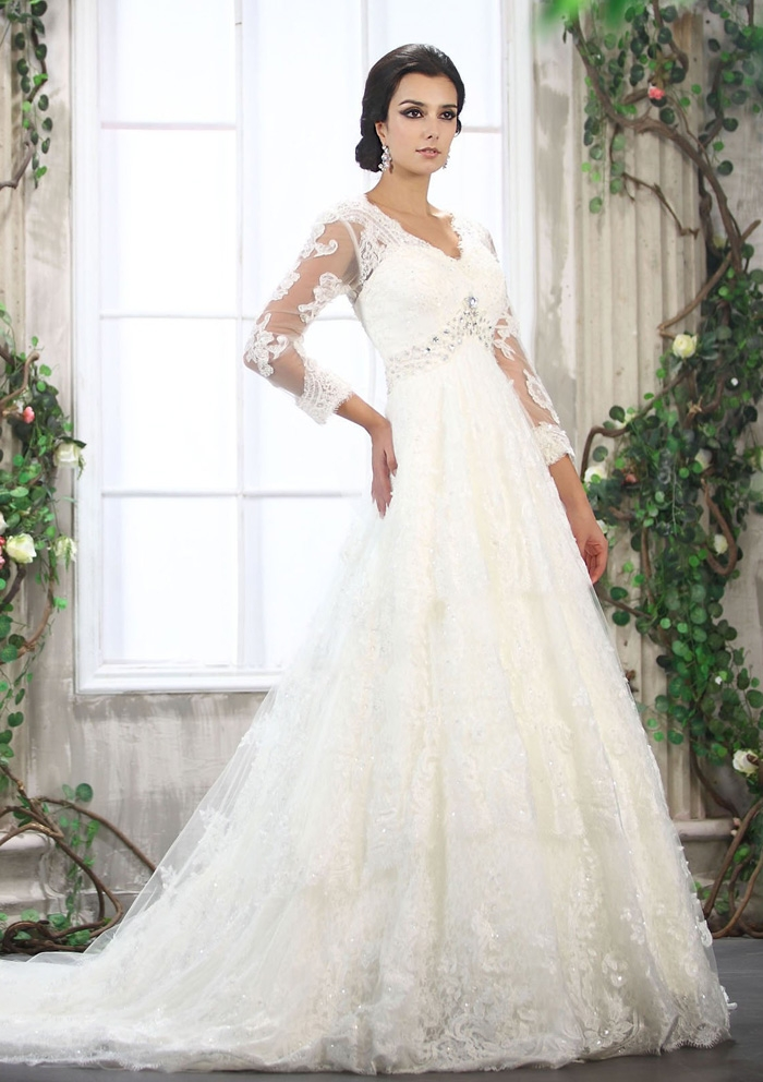 Wedding Dress With 3 4 Sleeves And A Line