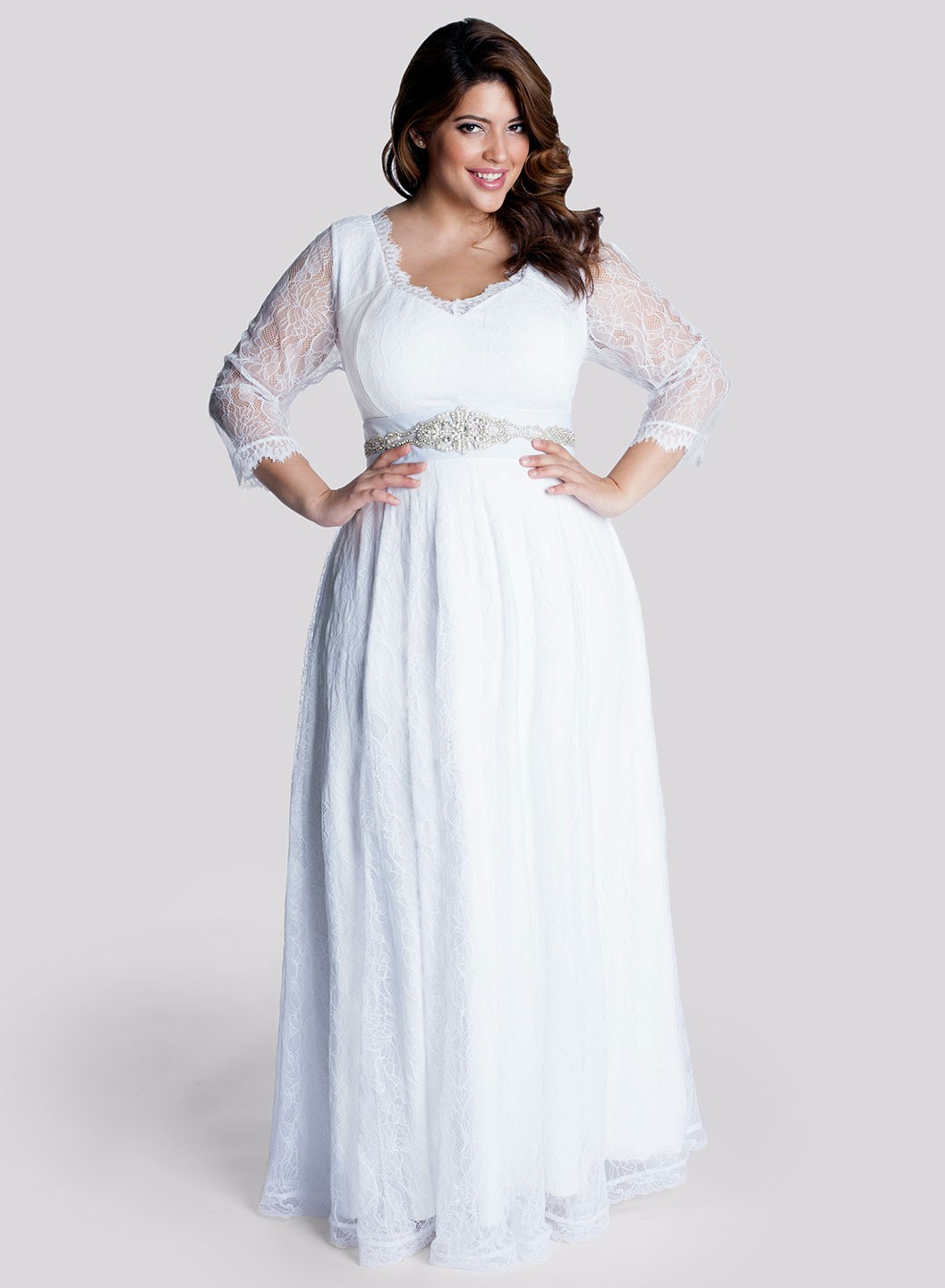 simple plus size wedding dress with long sleevesCherry
