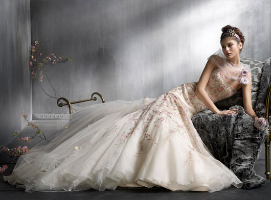 antique colored wedding dress with lace
