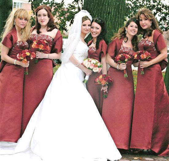 autumn colored wedding dress with a-line