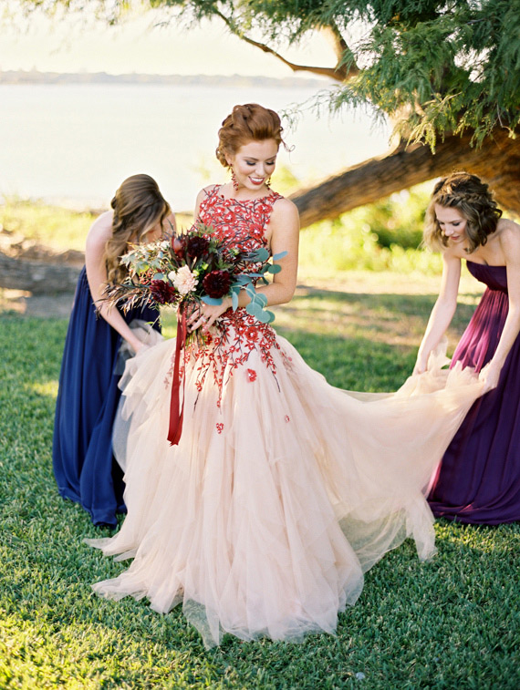 autumn colored wedding dress with long train