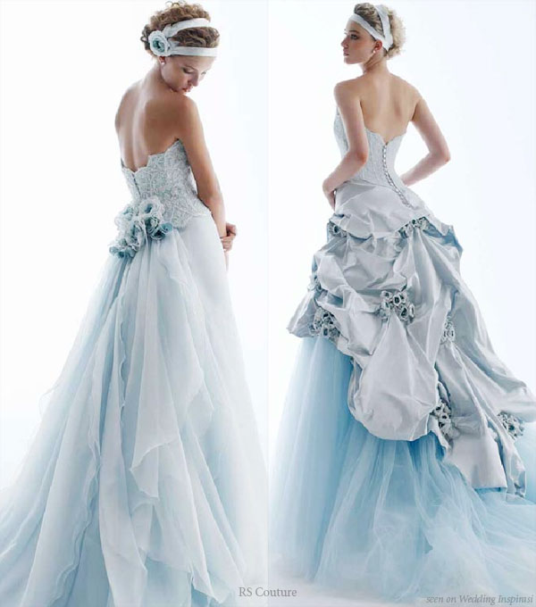 blue colored strapless wedding dress