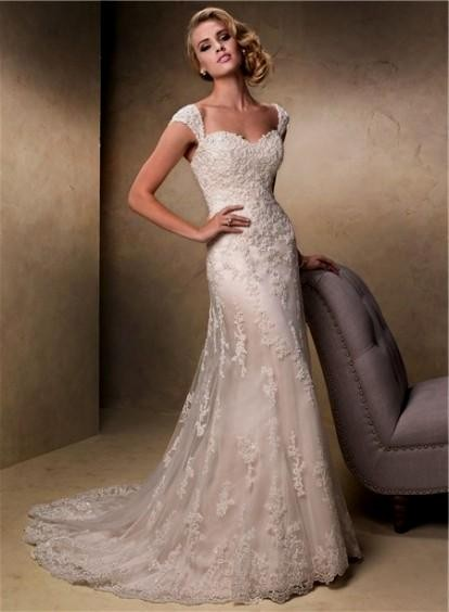 Champagne Colored Lace Wedding Dress