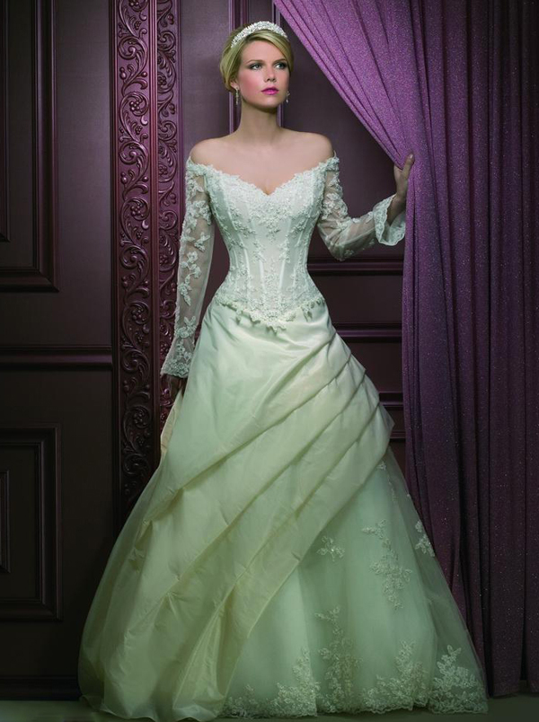 Colored wedding dresses with sleevescherry marry cherry for Wedding dresses in color